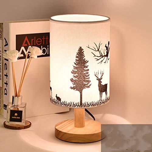 E27 Vintage Schlafzimmer Nachttischlampe Einfache Moderne hirsch Tischleuchte Stoffschirm Kreativ Klassisch Schreibtischlampen Studieren Wohnzimmer Dekorative Tischlampe Max 40W H29*D14CM,Holz