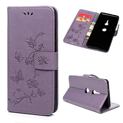 Edauto Hülle Kompatibel für Sony Xperia XZ3 Leder Hülle Schutzhülle Wallet Flipcase Lotus Schmetterling PU Handyhülle Handytasche Karteneinschub Magnetverschluß Ständer Klapptasche Tasche Hellviolett