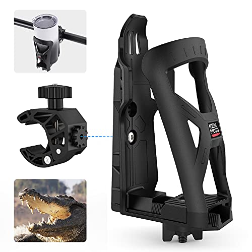 Motorcycle Cup Holder, kemimoto ATV Cup Holder w/360 Rotation Crocodile-Bite Clamp, Dirt Bike Cup...