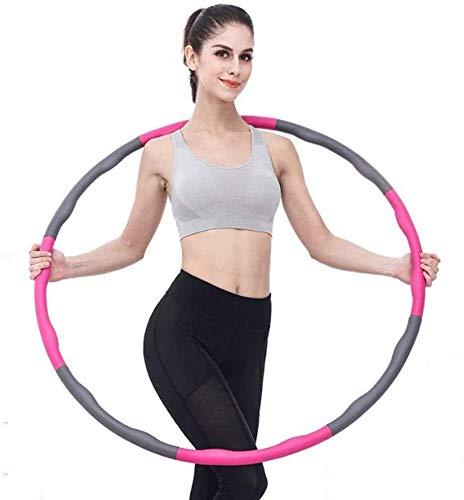 Aro De Hula De Fitness Plegable, Ancho Ajustable 26.8-34.6 Pulgadas, con 8 Piezas Extraíbles para Adultos, Adolescentes, Niños, Mujeres