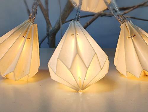 Elume Lichterkette für den Innenbereich, Nomade I 12 Origamis weiße Papiere in Diamantform LED warmweiß I 3 m lang I Stromversorgung USB I Deko Schlafzimmer Haus Wohnzimmer – Elume