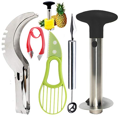 5 Pcs Fruit Slicer Set, Stainless Steel Pineapple Corer, Watermelon Slicer, Melon Baller Scoop & Carving Knife, Strawberry Huller, Avocado Slicer, Kitchen Fruit Tools Set by iMustech