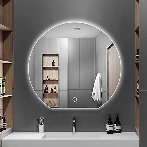 Espejo de Baño de Pared Iluminado con Led, sin empañamient, Espejo de Pared con Interruptor táctil, Adecuado para Familias U Hoteles, Decoracion Hogar
