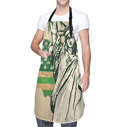 COFEIYISI Delantal de Cocina Mapa de Estados Unidos de marihuana como bandera verde con estatua de hoja de cannabis de Librety Legal Delantal Chefs Cocina para Cocinar/Hornear