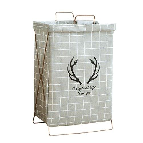 Cesta de almacenamiento de lino y algodón, cesta plegable de tela, bolsa de almacenamiento de ropa sucia, color gris
