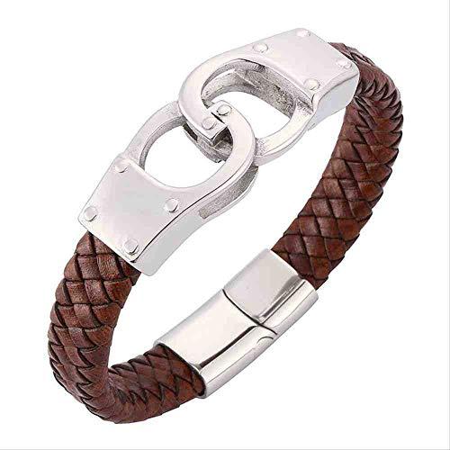 JYHW sieraden Punk heren zwart/bruin armband van gevlochten leer trendy handboeien van roestvrij staal magnetische gesp armband lengte draagbaar 185 mm bruin bruin bruin