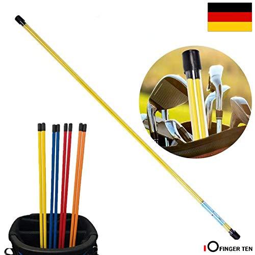 FINGER TEN Golf Alignment Stix Training Schwunganalysegeräte Golfschwung Trainer Set of 2 Practice Aid Tour Rodz Sticks 115cm Long Gelb Orange Weiß Blau Rot (Blau)