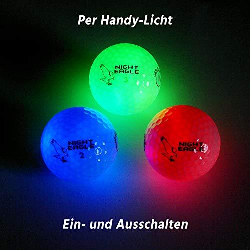 Night Eagle 3 Golfbälle Bunt Light-Up LED - Nachtgolf Crossgolf leuchten Rot Blau Grün Fun Sport Lustig Golf Geschenk