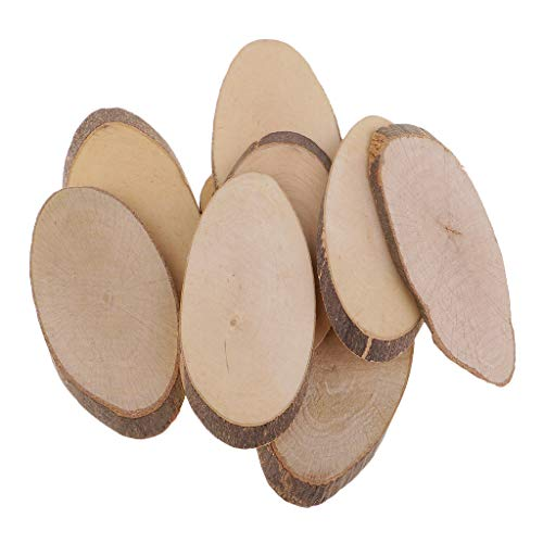 dailymall 50 Pieces Oval Unpainted Natural Tree Slices Discs Wood Circles Blank Wood Plaque for Wedding Party Decor, Home Ornaments, Hobby Supplies (8.5-9cm)