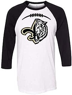 Handmade Football Shirt NFL Football College Football Shirt LSU New Orleans Saints Half fleur de lis Half Tiger