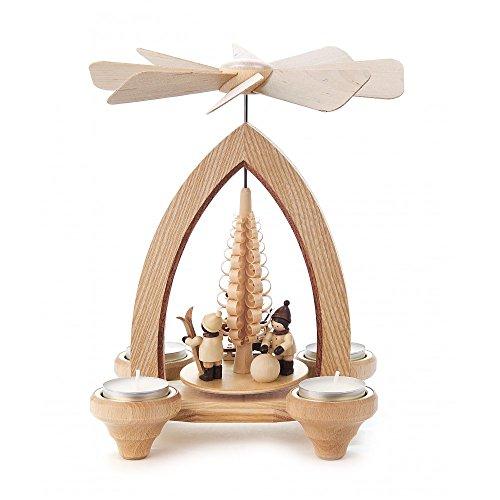 Dregeno Erzgebirge - Pyramide klein mit Weihnachtmann und Kinder für Teelichter - 24cm