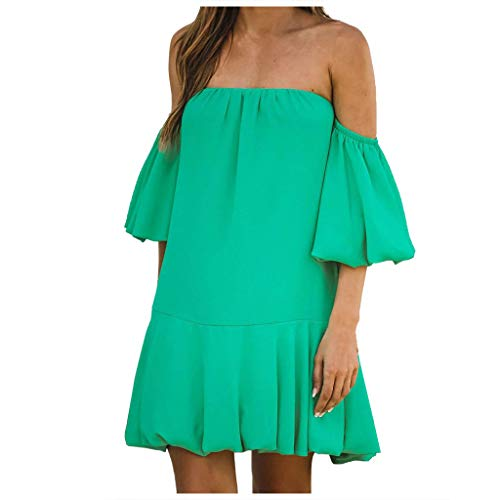 UFODB Sommerkleid Damen Sexy Schulterfrei Einfarbig Laterne Sleeves Casual Lose Minikleid Strandkleider Abendkleider Cocktailkleid Partykleid Abiballkleid Skaterkleid (XL, Grün)