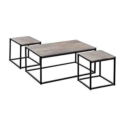 Harbour Housewares Tables Basse et d'appoint - Style Industriel - Bois Clair/Structure en Acier - Lot de 3