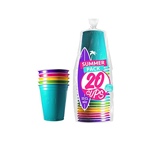 Original Cup - 20 x 53cl American Beer Pong Cups, American Red cups, Plastic, Wasbaar, Herbruikbaar, Officiële Bier Pong, Feest, Drinkspelletjes, Kerstmis, Nieuwjaar - Zomer
