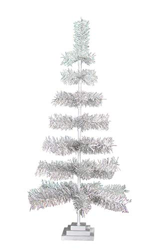 EST. LEE DISPLAY L D 1902 Silver Christmas Trees Vintage Retro Style Aluminum Silver Tinsel Branches Wood Base Stand Feather Style Tabletop Home Holiday Decor 3FT