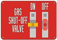 ガス遮断弁ハザードサイン緊急アルミ金属サイン
