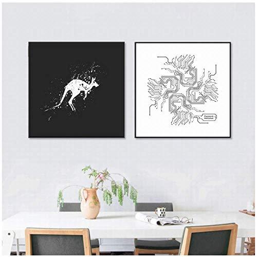 Leinwanddruck 2x80x80cm ohne Rahmen Dekorative Malerei Känguru-Chip Abstrakte Schwarz-Weiß-Tierdruck-Malerei Moderne minimalistische Hirsche