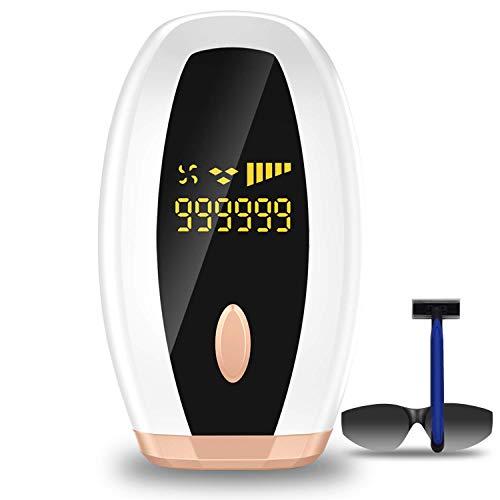 Aparato de depilación IPL, con láser automático, actualiza a 999.999 flashes, dispositivo de depilación sin dolor para todo el cuerpo, con flash automático y refrigeración automática