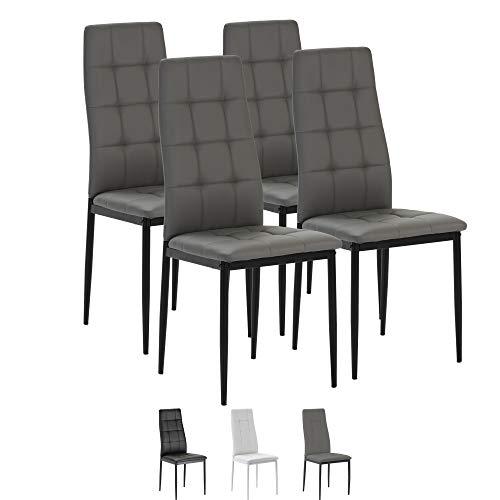 VS Venta-stock Set de 4 sillas Comedor Chelsea tapizadas Gris, certificada por la SGS, 42 cm (Ancho) x 51 cm (Profundo) x 97 cm (Alto)