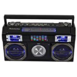 Studebaker SB2145B 80's Retro Street Bluetooth Boombox with FM Radio, CD Player, LED EQ, 10 Watts RMS Power and AC/DC