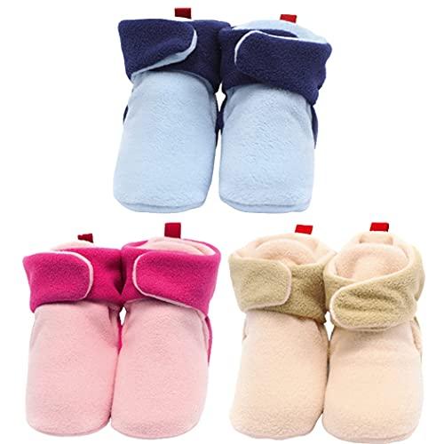 Lnrueg Botines Boots Soft Nolip 3 Pares First Walker Zapatos De Cuna para Niños Zapatos para Caminar Invierno Cálido Cozy Fleece