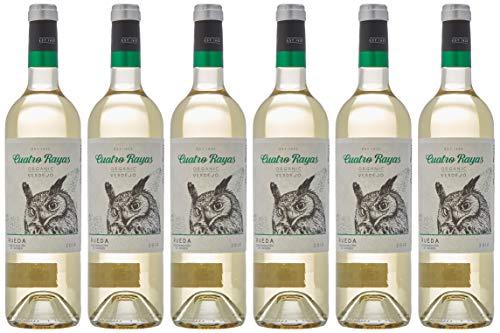 Cuatro Rayas Vino Blanco Verdejo Ecológico - 6 Botellas de