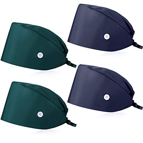 SATINIOR 4 Cappelli Scrub a Forma Zucca (Verde Scuro, Blu Navy)