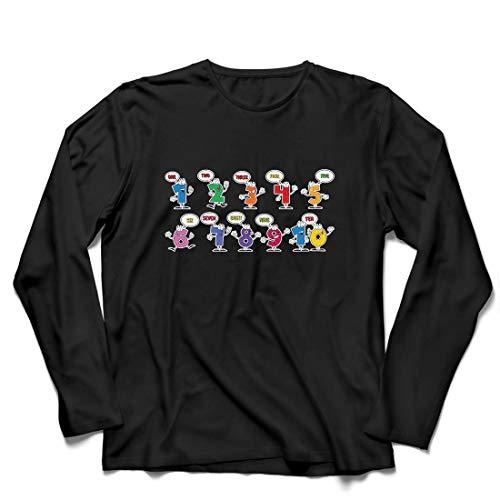 lepni.me Camiseta de Manga Larga para Hombre Amo Las matemáticas, Ropa de Regreso a la Escuela o de graduación (X-Large Negro Multicolor)