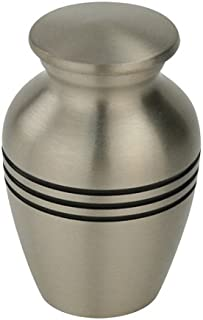 Silverlight Urns Classic Three Bands Pewter Keepsake Urn, Mini Urn for Ashes in Silver, 3 Inches Tall