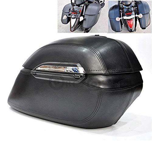 CHUDAN Motorrad Satteltaschen ABS-Kunststoff Top Back Box Seitenkoffer Mit Latch, Verlängert Saddlebags Hartschalen Koffer Werkzeugkasten für die meisten Harley Yamaha Honda Kawasaki Suzuki