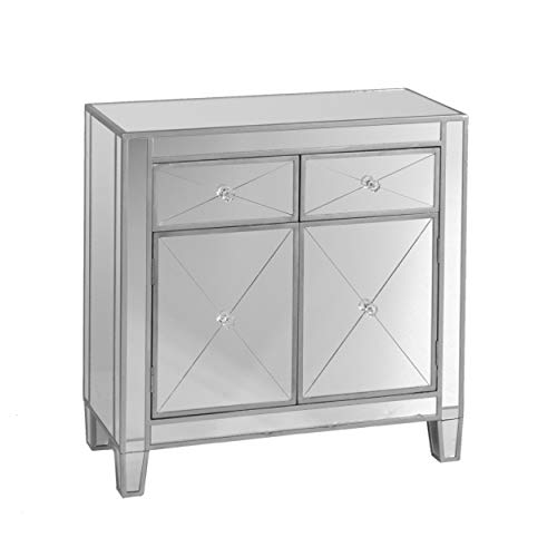 SEI Furniture Mirage 2 Drawers, Faux Crystal Knobs, and Matte Silver Trim Mirrored Cabinet