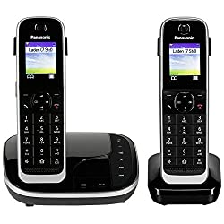 Panasonic KX-TGJ322GB Family Telephone with Answering Machine / Duo Telephone with Handset, Cordless Telephone, Low Radiation, Black