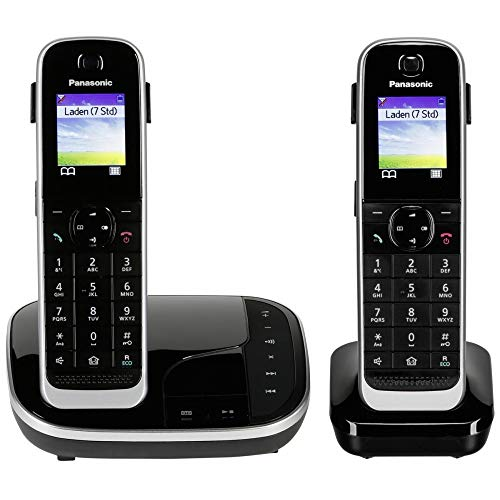 Panasonic KX-TGJ322GB Familien-Telefon mit Anrufbeantworter/ Duo Telefon mit Mobilteil, schnurloses Telefon, strahlungsarm, schwarz