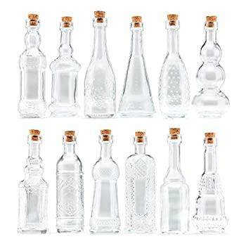 Small Clear Vintage Glass Bottles with Corks Bud Vases Decorative Potion Assorted Design Set of 12 pcs 4.6 Inch Tall  11.43cm  1.4 Inch Wide  3.56cm
