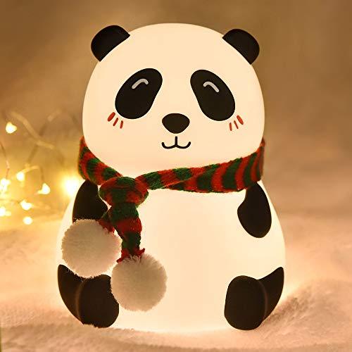 Goeco Luces LED de noche, colorida lámpara de silicona panda, sensor táctil recargable por USB, luz de dibujos animados, dormitorio decorativo lámpara de lectura para niños (adorable panda)
