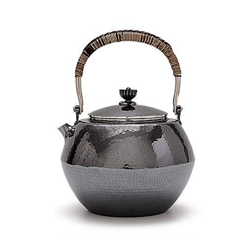 CRTTRC Pot Plata esterlina de Plata 999 Un hogar Martillado Ahumado Plata Retro Cocinar Kung Fu Tetera