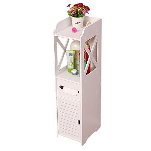 BIGTREE Moderner Schrank Holz Badezimmerschrank Eckregal Lagerung Boden Stehmöbel wasserdichte MDF Toilette Seidenpapier Lagerung