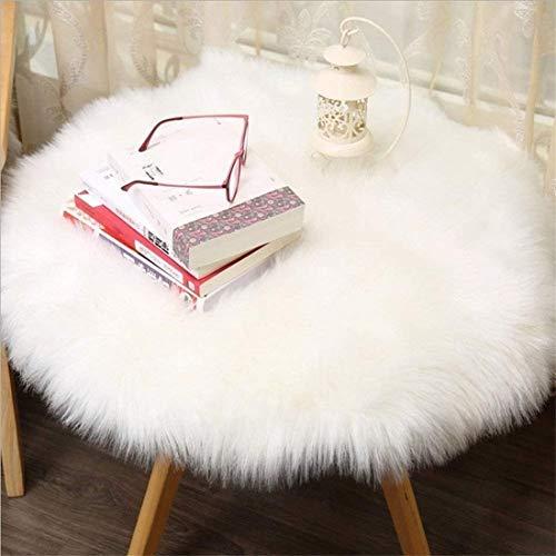 HEQUN Faux Lammfell Schaffell Teppich, Lammfellimitat Teppich Longhair Fell Optik Nachahmung Wolle Bettvorleger Sofa Matte (Weiße, 90 X 90 cm)