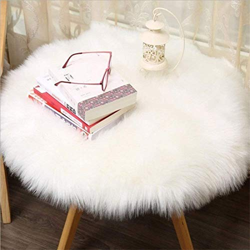 HEQUN Circular Faux Fur Sheepskin Style Rug Faux Fleece Chair Cover Seat Pad Soft Fluffy Shaggy Area Rugs For Bedroom Sofa Floor (White, 90 X 90 CM)
