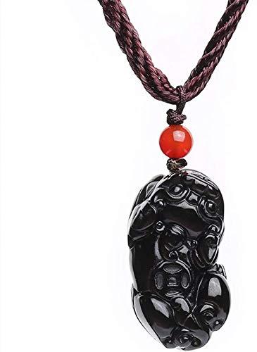 SUCICI Lucky Pixiu/PIYAO Collar Colgante Feng Shui Joyería de la joyería Buena Suerte Amor Piedra Natural Colorido Ojos obsidiana Regalos para Hombres/Mujeres