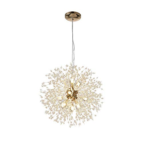 Modern Creative LED Pendelleuchte Gold Löwenzahn Hängeleuchten Höhenverstellbar Wohnzimmerlampe Kristall Hängelampe Eisen 12*G9 Fassung Warmweiß für Schlafzimmer Esstisch (Ø55cm)