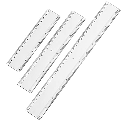 Plastic Transparent Straight Ruler Measuring Tool 6 Inch 8 Inch 12 Inch Ruler Set Rulers Bulk 3 Pack