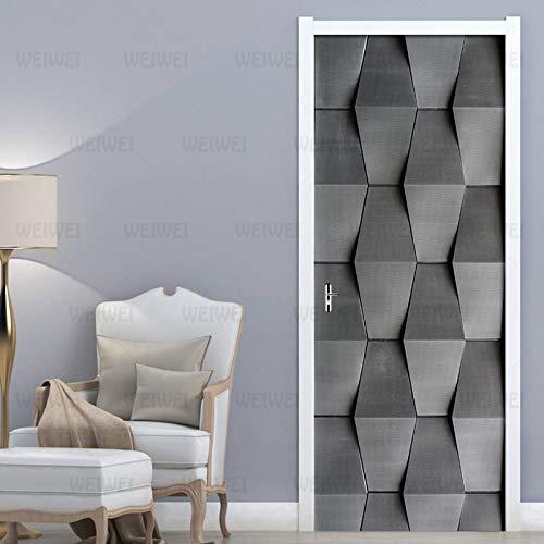 LLHBDA PVC impermeável Auto-adesivo Porta adesivo 3D estéreo abstrato Cinza Preto Papel de Parede para Sala de Estar Quarto decoração da Porta Mural decalque77x200 cm