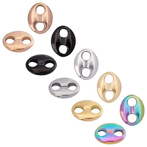 UNICRAFTALE 20 unids 5 colores ovales enlaces de acero inoxidable Conectores hipoalergénicos de grano de café con diseño de eslabones de color mezclado para hacer pulseras y collares