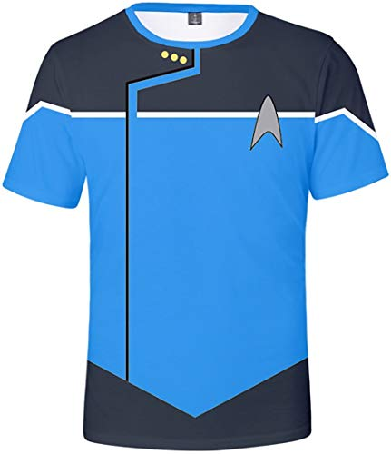 Silver Basic Camiseta de Star Trek para Mujer Disfraz de Descubrimiento de Star Trek Capitn Jim Kirk Disfraz de Cosplay Uniforme para Mujer XXS,Azul-2