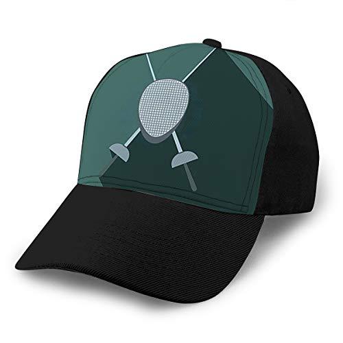 hyg03j4 Cowboy-Hut, modische Baseballkappe für Männer und Frauen, Zaun, Schwerter, Helm, Maske, flache Ikone, grauer Hintergrund, elektrischer Sport, Snapback