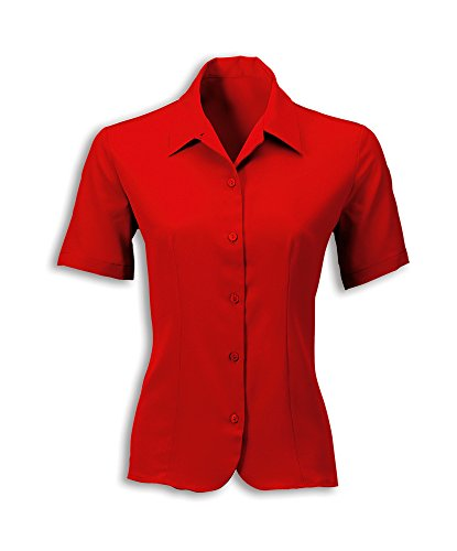 Alexandra STC-2035RD-22 Vrouwen Crêpe De Chine Blouse, Plain, 100% Polyester, Maat: 22, Rood