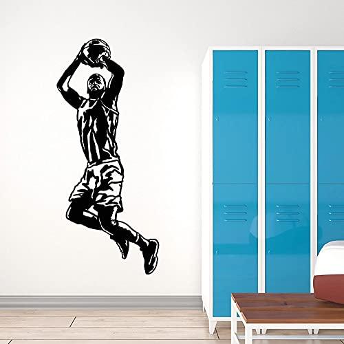 HGFDHG Jugador de Baloncesto calcomanía de Pared Juego de Pelota Saltando Deportes Puerta Ventana Vinilo Pegatina niño Dormitorio Dormitorio Gimnasio decoración de Interiores Arte