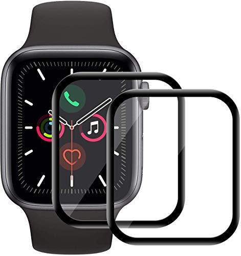 Snnisttek Pellicola per Schermo in Vetro temperato Confortevole con Apple Watch Series 5 (44MM) Protezione per Schermo Curva 3D Ultra-Sottile Ultra-Sottile Anti-Impronta Digitale [2 Pezzi]