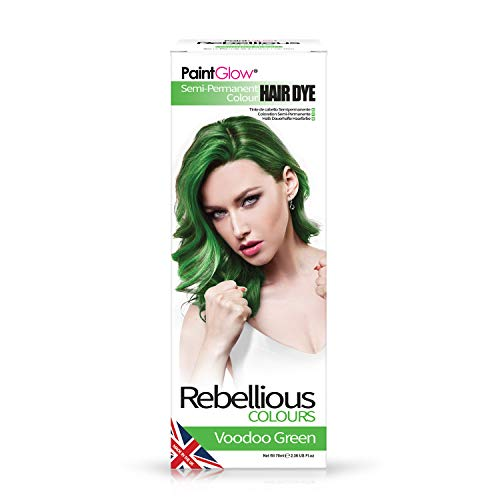 Paintglow - Rebellious Colours - Tinte de Pelo Semi-Permanente 70 ml (Voodoo Green) - 1 unidad